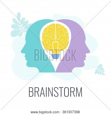 Brainstorming Icons. Two Heads, One Brain. Creative Technique For Generating Ideas, New Solutions. S