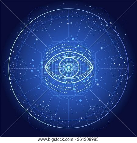 Vector Illustration Of Mystic Symbol Eye On Abstract Background. Geometric Sign Drawn In Lines. Blue