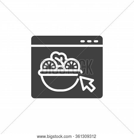 Online Vegetable Salad Ordering Vector Icon. Restaurant Food Delivery Service Filled Flat Sign For M