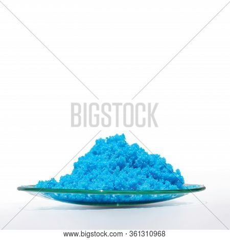 Close Up Inorganic Chemical On White Laboratory Table. Copper(ii) Sulfate. Chemical Ingredient For C