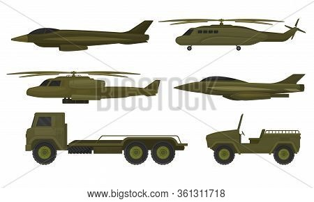 Military Machines And Armored Vehicles With Helicopters Vector Set