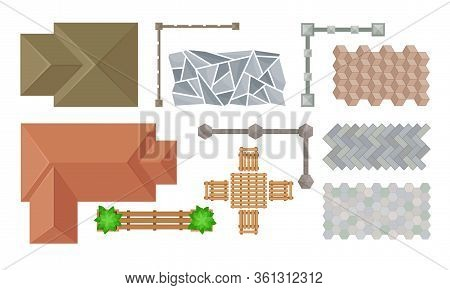Landscape Design Elements With Stone Setting And Pergola Vector Set