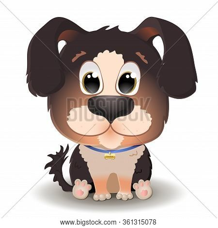 Vector Cute Brown Dog With Big Eyes In Cartoon Style. Berner Sennenhund Puppy Sits And Smiles. Flat