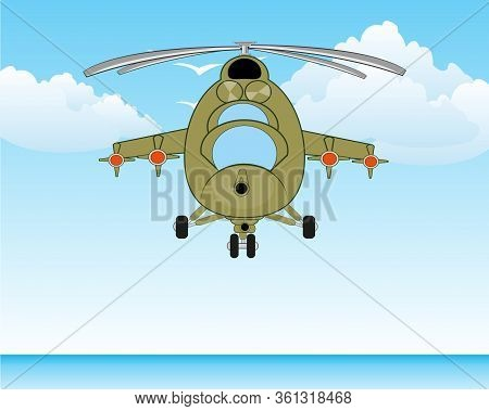 Military Helicopter With Arms Flying On Ocean