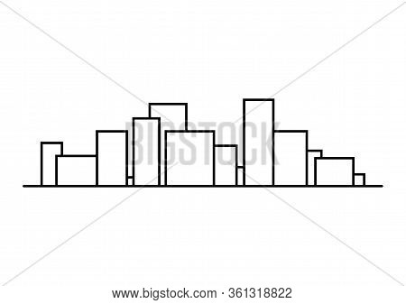 Symbol Of The City Panorama. Big City Concept With Tall Houses. Illustration In Line Art Style. Vect
