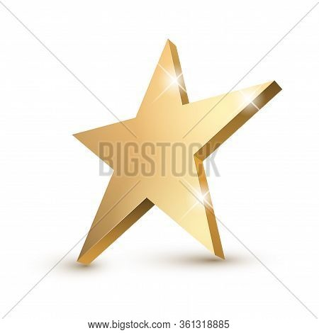 Golden 3d Star With Golden 3d Star With Highlights. Icon For Holiday Design Element. Vector Illustra