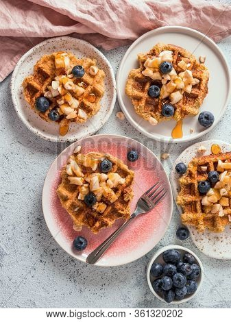 Easy Healthy Gluten Free Oat Waffles With Copy Space. Plates With Appetizing Homemade Waffles With O