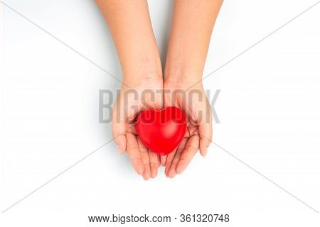 Woman Doctor Hands Holding Red Heart On Wide Blue Background Donate For Foundation Hospital Blood Ca