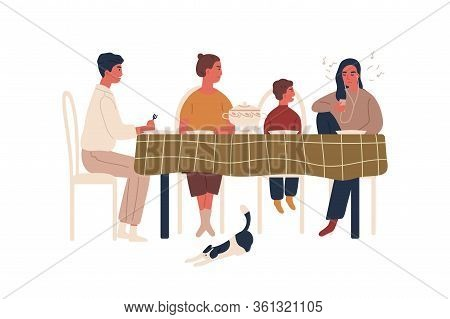 Disobedience Teen Girl Listen Music In Earphones During Family Dinner Vector Flat Illustration. Anno