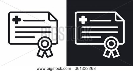 Doctor License Or Medical Certificate Icon. Simple Two-tone Vector Illustration On Black And White B
