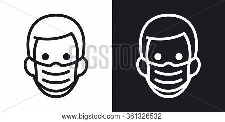 Man In Medical Face Protection Mask. Protective Surgical Mask Icon. Simple Two-tone Vector Illustrat