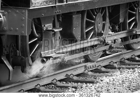 Powerful Steam Locomotive Wheel Assembly On An Old Steam Train