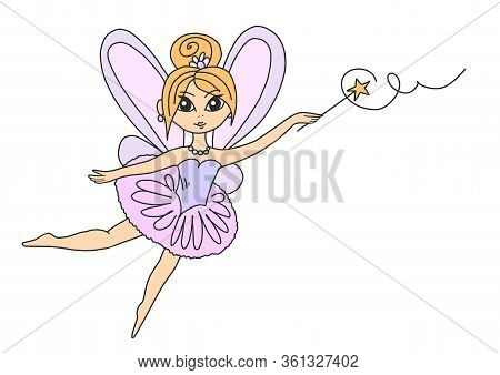 Little Cute Fairy In A Pink Dress With Wings And A Magic Wand. Illustration Clip-art Fairy Tale Girl