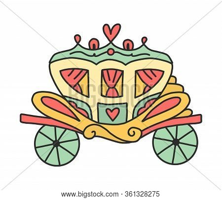 A Carriage Or A Wagon, Horse-drawn Carriage, A Closed Passenger Wagon With Springs. Illustration Cli