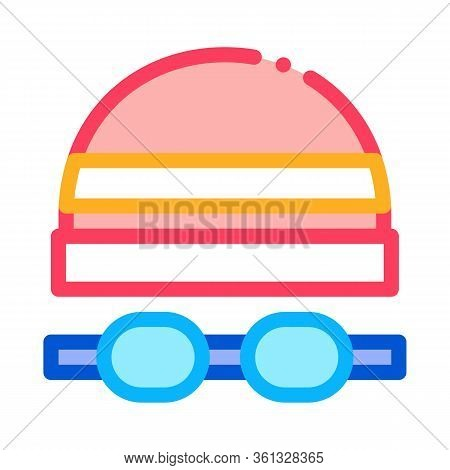 Safety Goggles And Hat Icon Vector. Safety Goggles And Hat Sign. Color Symbol Illustration