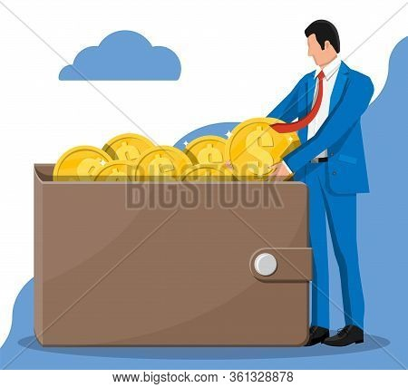 Businessman Putting Big Dollar Coin In Wallet. Leather Money Purse Full Of Gold Coins. Growth, Incom