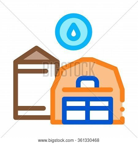 Farm Water Supply Icon Vector. Farm Water Supply Sign. Color Symbol Illustration
