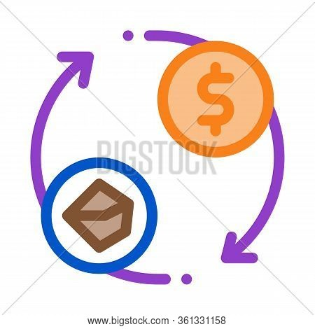 Selling Coal For Money Icon Vector. Selling Coal For Money Sign. Color Symbol Illustration