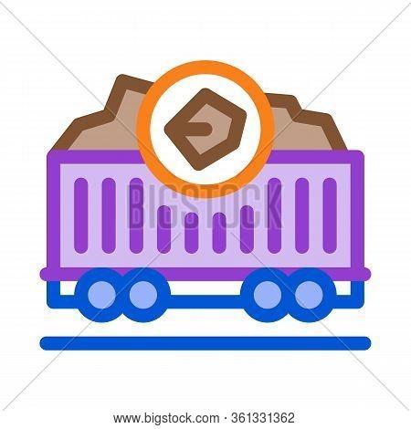 Coal Trolley Icon Vector. Coal Trolley Sign. Color Symbol Illustration