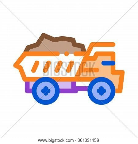 Motor Lorry Icon Vector. Motor Lorry Sign. Color Symbol Illustration