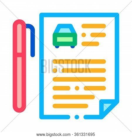 Car Purchase Agreement Icon Vector. Car Purchase Agreement Sign. Color Symbol Illustration