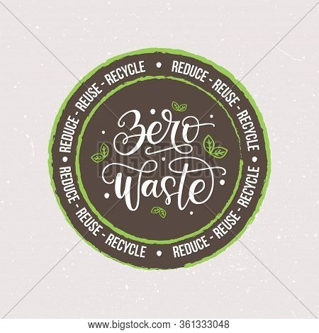 Zero Waste Vector Logo Isolated On Textured Background. Eco Friendly Lifestyle, Sustainable Developm