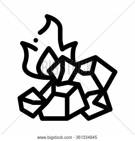 Charcoal For Fire Icon Vector. Charcoal For Fire Sign. Isolated Contour Symbol Illustration