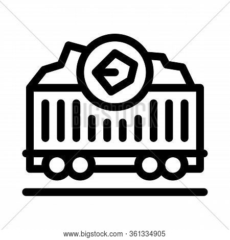 Coal Trolley Icon Vector. Coal Trolley Sign. Isolated Contour Symbol Illustration