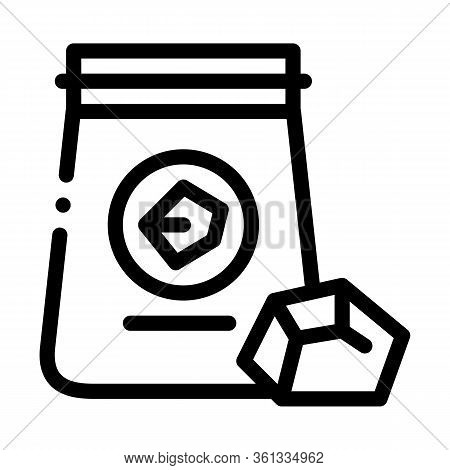 Coal In Bag Icon Vector. Coal In Bag Sign. Isolated Contour Symbol Illustration