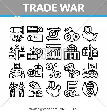 Trade War Business Collection Icons Set Vector. Trade War Bomb And Rocket, Usa And China Economy Fig