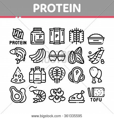 Protein Food Nutrition Collection Icons Set Vector. Bottle And Package With Protein, Fish And Chicke