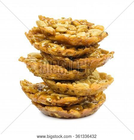 Stack Of Florentine Biscuits Isolated On White Background With Clipping Path
