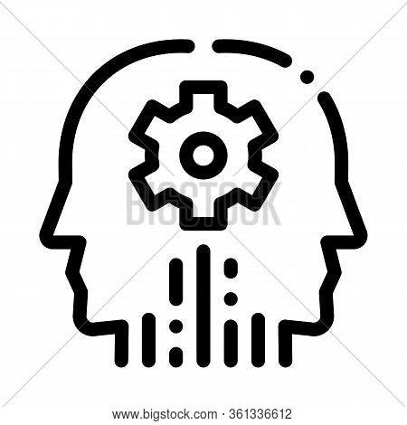 Cerebral Hemisphere Settings Icon Vector. Cerebral Hemisphere Settings Sign. Isolated Contour Symbol