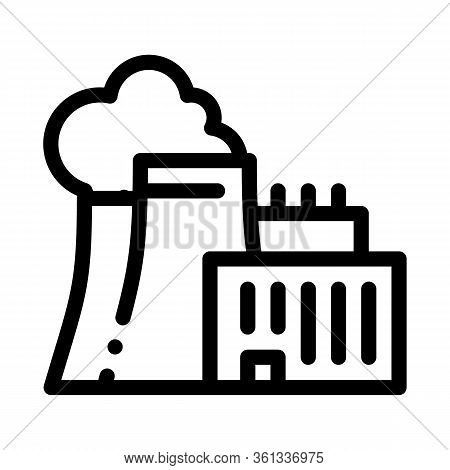 Nuclear Power Plant Icon Vector. Nuclear Power Plant Sign. Isolated Contour Symbol Illustration
