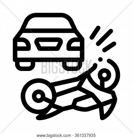 Motorcycle Hit By Car Icon Vector. Motorcycle Hit By Car Sign. Isolated Contour Symbol Illustration