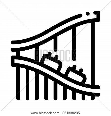 Roller Coaster Ride Icon Vector. Roller Coaster Ride Sign. Isolated Contour Symbol Illustration