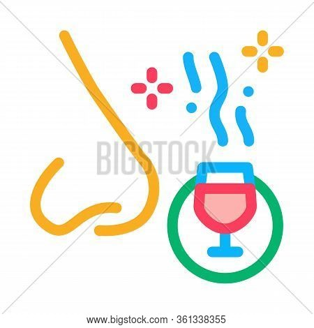 Smelling Wine Testing Icon Vector. Smelling Wine Testing Sign. Color Symbol Illustration