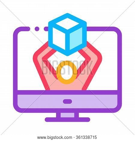 Computer Receipt Of Parcel Icon Vector. Computer Receipt Of Parcel Sign. Color Symbol Illustration