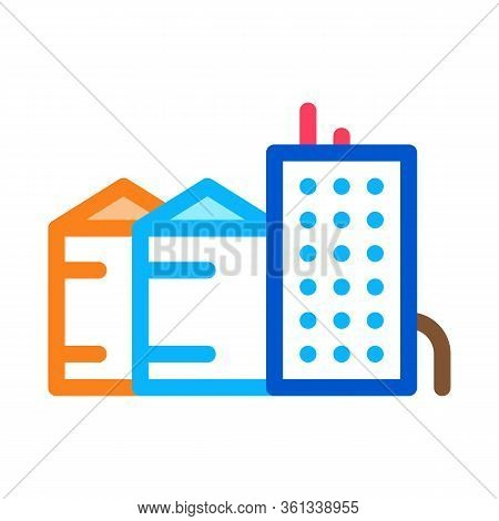 Heaters With Residential Buildings Icon Vector. Heaters With Residential Buildings Sign. Color Symbo