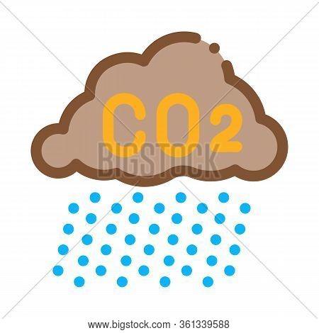 Acid Rain Icon Vector. Acid Rain Sign. Color Symbol Illustration