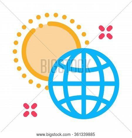 Rotation Of Earth Around Sun Icon Vector. Rotation Of Earth Around Sun Sign. Color Symbol Illustrati