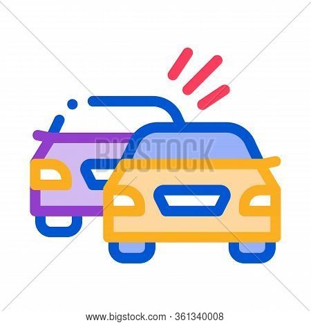 Overtaking Previous Car Icon Vector. Overtaking Previous Car Sign. Color Symbol Illustration