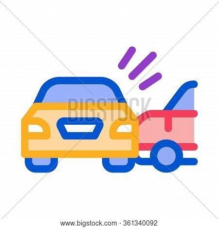 Collision Of Two Cars Icon Vector. Collision Of Two Cars Sign. Color Symbol Illustration