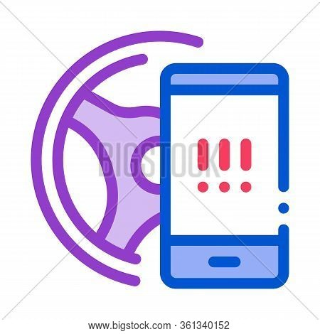 Distracting Phone While Driving Icon Vector. Distracting Phone While Driving Sign. Color Symbol Illu