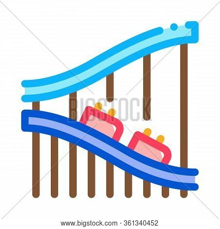 Roller Coaster Ride Icon Vector. Roller Coaster Ride Sign. Color Symbol Illustration