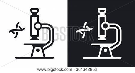 Microscope Icon. Laboratory Equipment Concept. Simple Two-tone Vector Illustration On Black And Whit