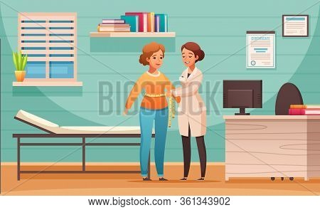 Nutritionist Counseling Cartoon Composition With Female Client Body Mass Index Control In Dietitian
