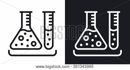 Test Tubes Icon. Laboratory Equipment Concept. Simple Two-tone Vector Illustration On Black And Whit