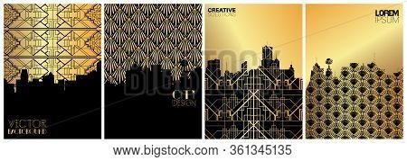 Set Of Banner Templates. Retro Luxury City Concept. Tall Buildings Background. Downtown Trip. Retro