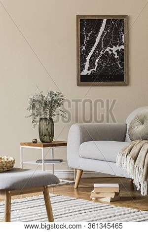 Design Scandinavian Home Interior Of Living Room With Mock Up Poster Map, Stylish Coffee Table, Gray